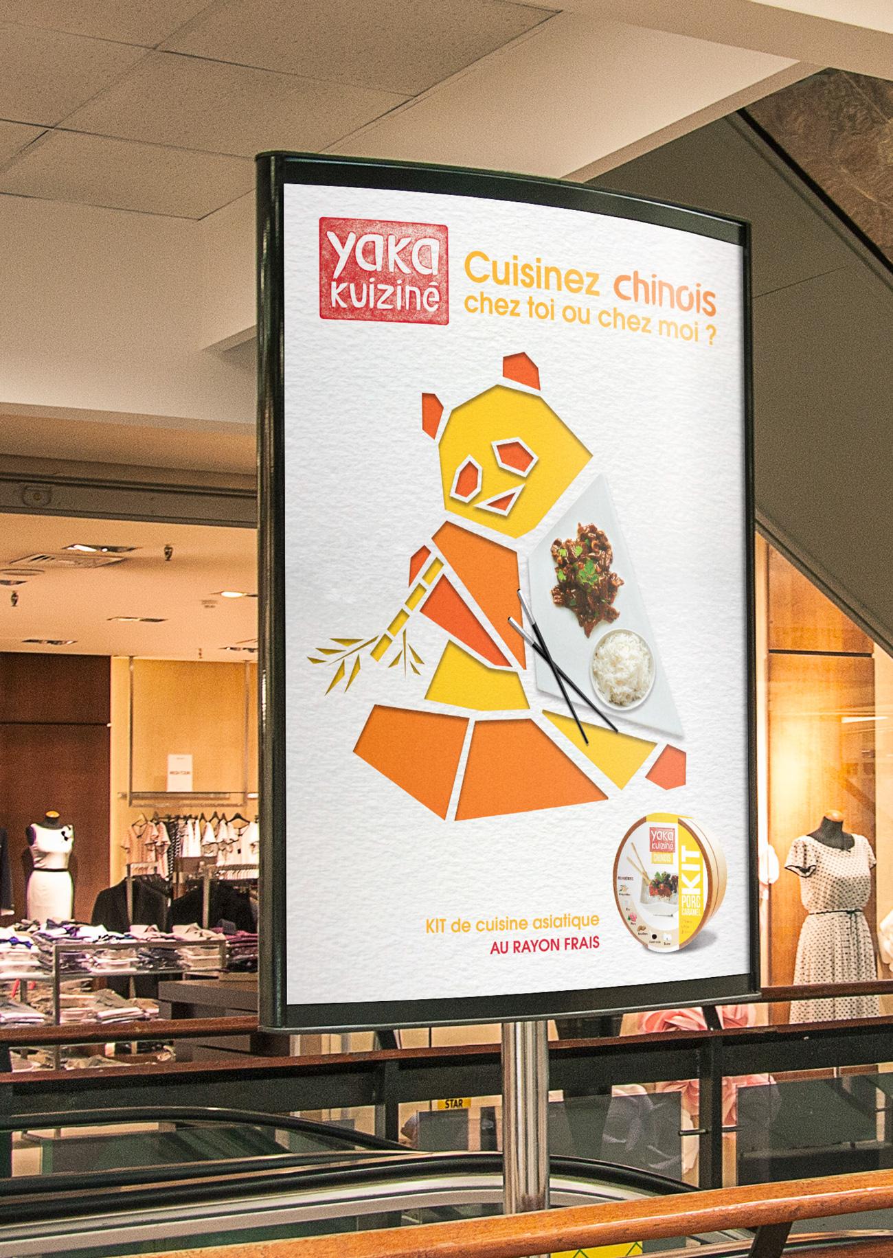 Affiche panda format sucette plat chinois yaka kuiziné